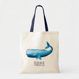 Tote Bag Baleine bleue et nom de mer de l'aquarelle du bébé