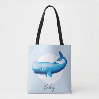 Tote Bag Baleine d'océan de l'aquarelle du garçon mignon