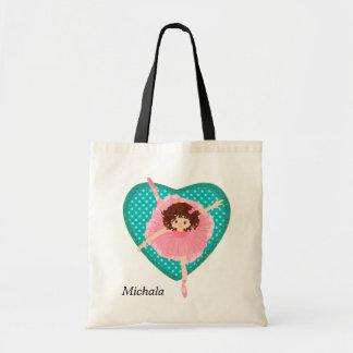 Tote Bag Ballerine turquoise de rose de coeur de Polkadot
