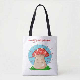 Tote Bag bande dessinée drôle de champignon fâché