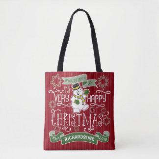 Tote Bag Bannière de coutume de typographie de Noël heureux