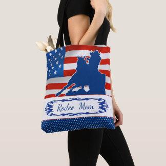 Tote Bag Baril emballant la maman de rodéo de drapeau