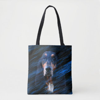 Tote Bag Basset Hound tricolore abstrait