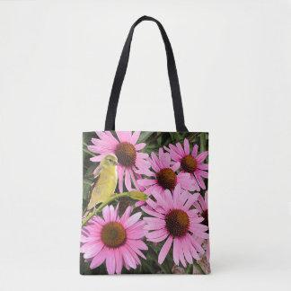 Tote Bag Beau pinson jaune et fleurs roses de cône -