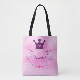 Tote Bag Bébé rose de princesse Crown Tiara Hearts Purple