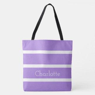 Tote Bag Belle lavande et rayures blanches personnalisées