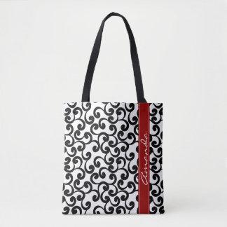 Tote Bag Blanc et copie décorée d'un monogramme d'éléments