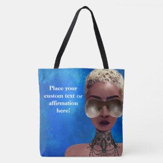 Tote Bag Bleu blond d'art noir de beauté de baie de