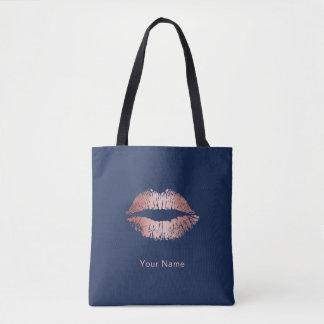 Tote Bag Bleu marine moderne de lèvres roses d'or de