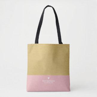 Tote Bag Bloc moderne de couleur avec le monogramme