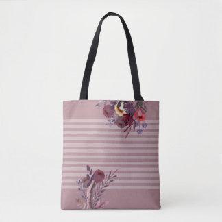 Tote Bag Boho romantique de rayures roses poussiéreuses