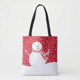 Tote Bag bonhomme de neige contemporain moderne d'hiver