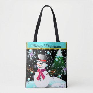 """Tote Bag Bonhomme de neige """"Joyeux Noël"""" personnalisé"""