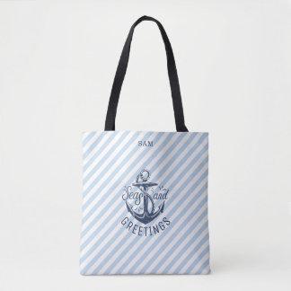 Tote Bag Bonnes Fêtes nautiques, rayures de marine