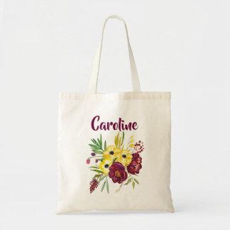 Tote Bag Bordeaux et fleurs jaunes d'aquarelle de pivoines