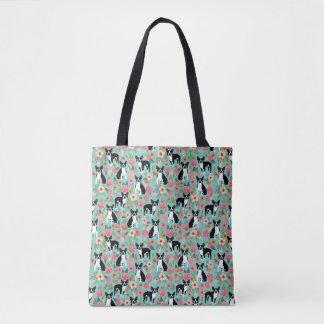 Tote Bag Boston Terrier floral - chiens et fleurs