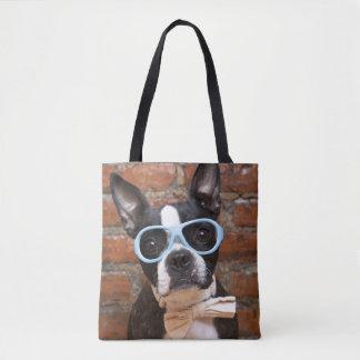 Tote Bag Boston Terrier portant des lunettes de soleil et