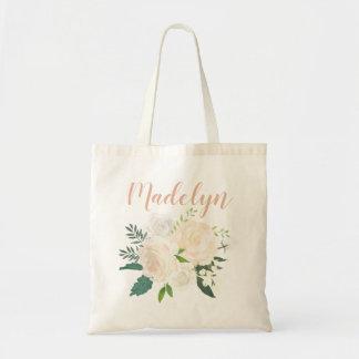 Tote Bag Bouquet neutre d'aquarelle du monogramme | de