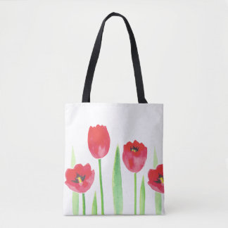 Tote Bag Bourse Tote tulipes | Watercolor tulips bag