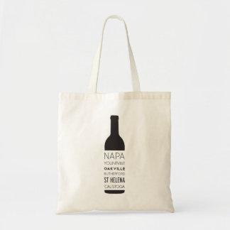 Tote Bag Bouteille de vin de villes de Napa Valley