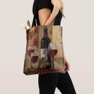 Tote Bag Bouteille de vin et verres de vin