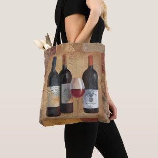 Tote Bag Bouteilles de vin avec le verre