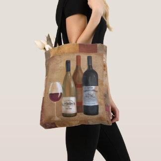 Tote Bag Bouteilles de vin vintages et verre de vin
