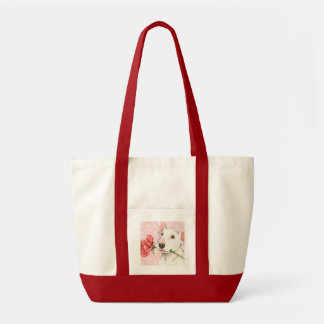 Tote Bag Bull-terrier rose de Valentine