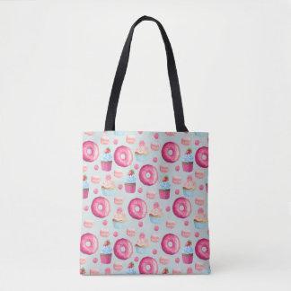 Tote Bag Butées toriques Macarons et motif de petit gâteau