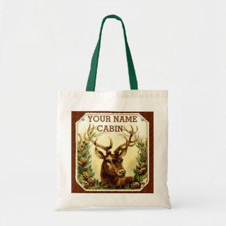 Tote Bag Cabine de cerfs communs personnalisé avec le grain