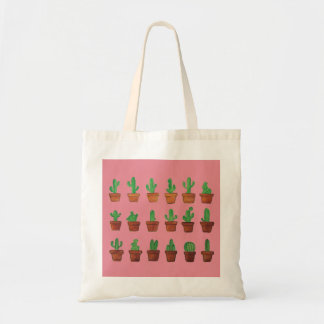 Tote Bag Cactus sur l'arrière - plan rose