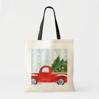 Tote Bag Camion pick-up rouge de Noël sur une route de