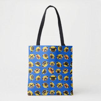 Tote Bag Carlin Emojis sur le bleu électrique