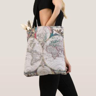 Tote Bag Carte antique du monde de Double-Hémisphère