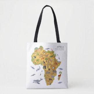 Tote Bag Carte de l'Afrique | Flora et faune