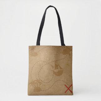 Tote Bag Carte la Caraïbe rustique vintage de trésor de