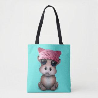 Tote Bag Casquette de port de chat d'hippopotame mignon de