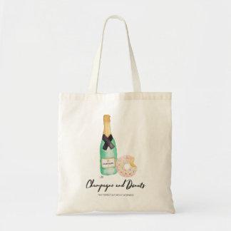 Tote Bag Champagne et aquarelle Fourre-tout de butées