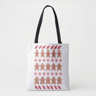 Tote Bag Chandail laid de Noël de biscuits de bonhommes en
