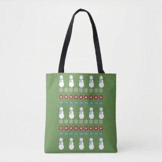 Tote Bag Chandail laid de Noël de bonhomme de neige