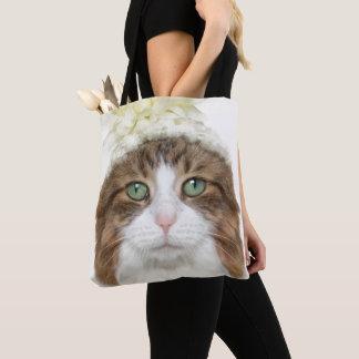 Tote Bag Chat avec le casquette de fleur
