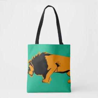 Tote Bag Chat contre le lion prêt à combattre ou prendre