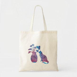 Tote Bag Chat et fleurs