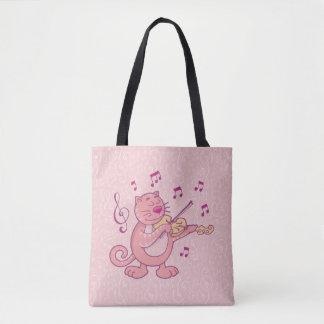 Tote Bag Chat rose avec le violon