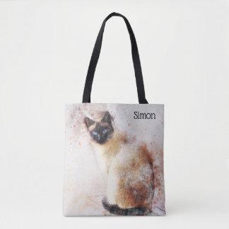 Tote Bag Chat siamois d'aquarelle à la mode personnalisé