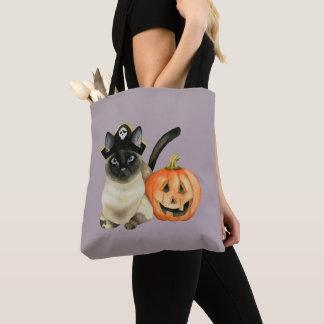 Tote Bag Chat siamois de Halloween avec la lanterne de Jack