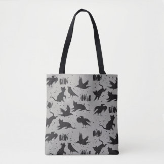 Tote Bag Chats et corneilles noirs et Fourre-tout gris