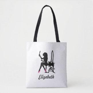 Tote Bag Chaussures Girly roses et noires chics et nom de