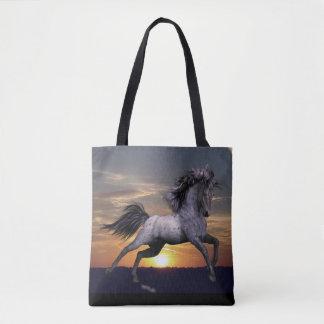 Tote Bag Cheval rouan bleu tout plus de - imprimez