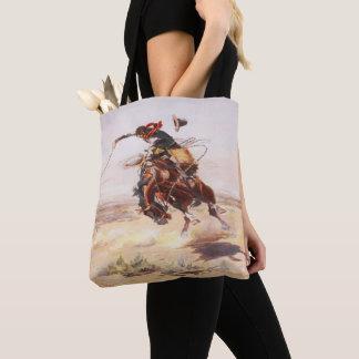 Tote Bag Cheval sauvage de cowboy de cavalier occidental